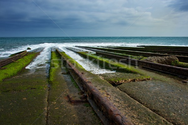 Old rails for descending boat into water. Stock photo © Nejron
