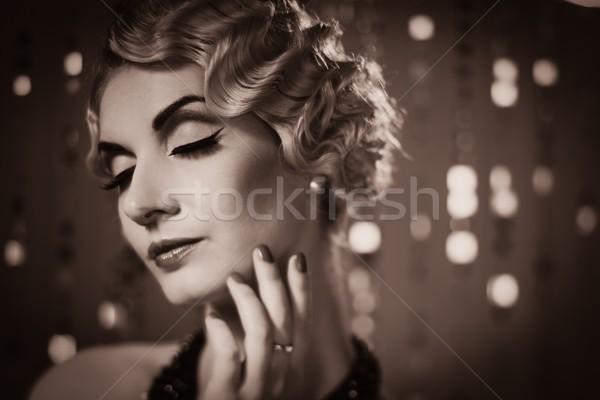 Toned picture of  elegant blond retro woman   with hairdo Stock photo © Nejron
