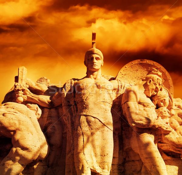 戦士 剣 像 橋 ローマ イタリア ストックフォト © Nejron