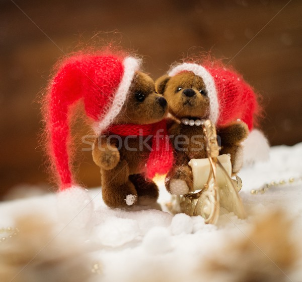 Small toy bears on a sleigh in christmas still life  Stock photo © Nejron
