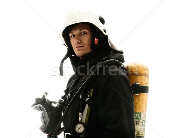 Tűzoltó oxigén léggömb izolált fehér munka Stock fotó © Nejron