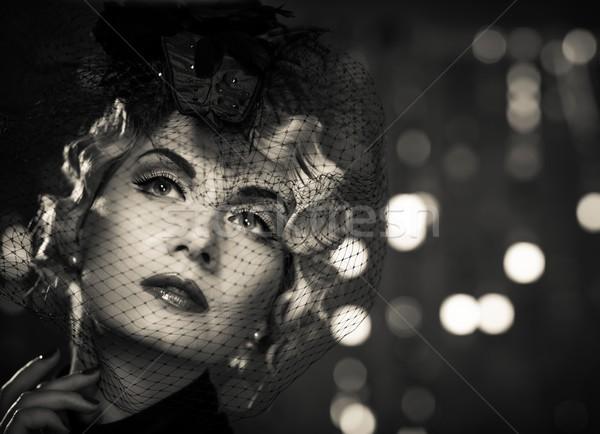 Monochrome picture of  elegant blond retro woman   wearing little hat with veil  Stock photo © Nejron