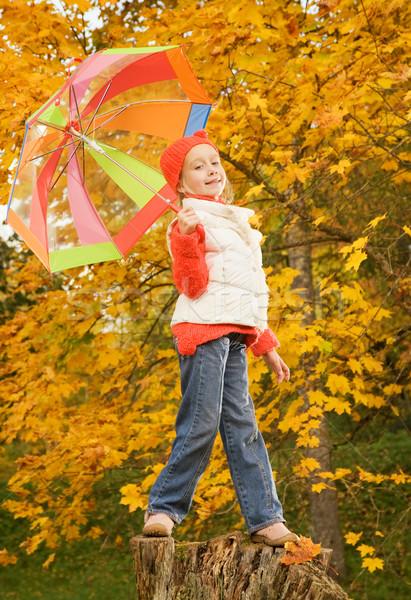 Stok fotoğraf: Güzel · küçük · kız · şemsiye · açık · havada · yüz · mutlu