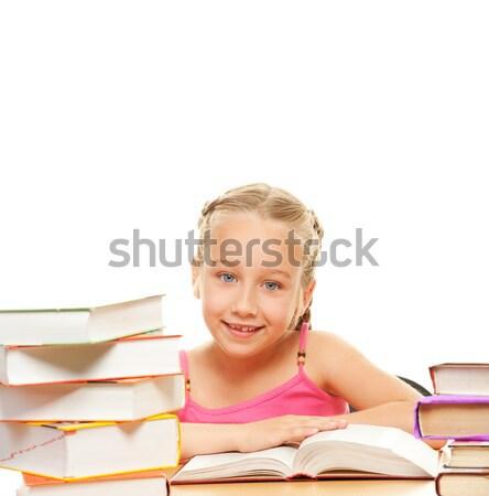 Stock fotó: Kép · álmodik · iskolás · lány · arc · tini · olvas