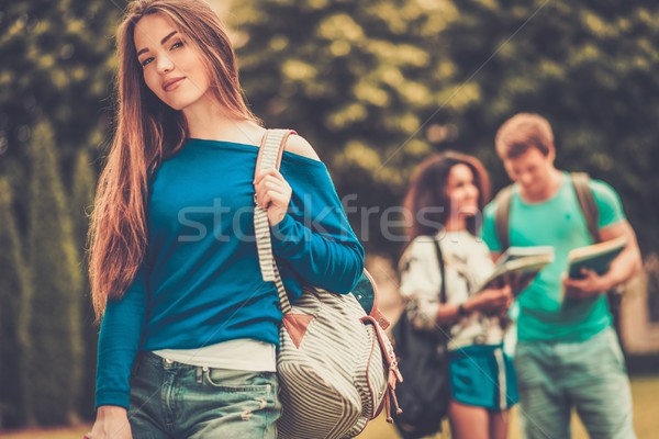 Beautiful young girl student in a city park on summer day  Stock photo © Nejron