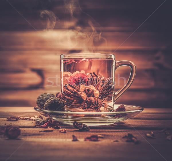 Cam fincan çay çiçek ahşap arka plan Stok fotoğraf © Nejron