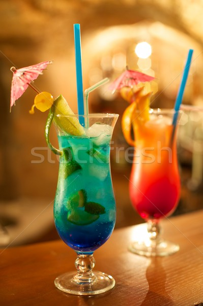 Two tequila sunrise coctails on the table Stock photo © Nejron