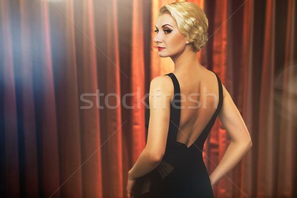 女性 黒のドレス ステージ 背景 コンサート 映画 ストックフォト © Nejron