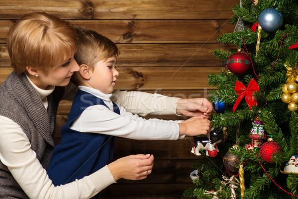 Boldog anya kicsi fiú karácsonyfa fából készült Stock fotó © Nejron