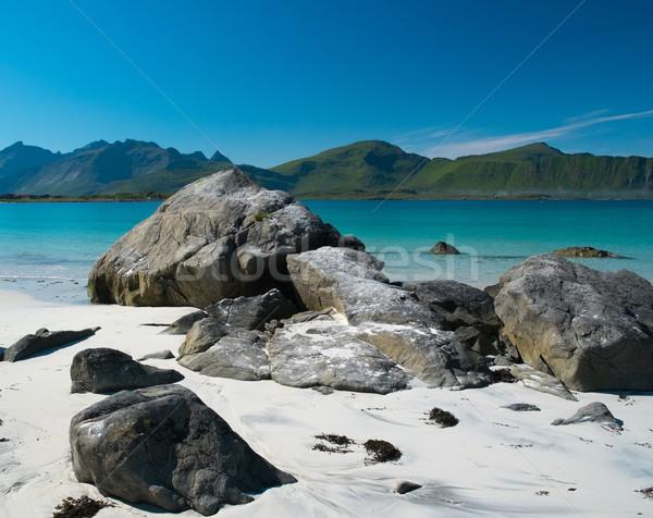 Stockfoto: Rotsen · mooie · zandstrand · eilanden · Noorwegen · strand