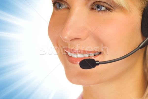 Gyönyörű forródrót kezelő headset absztrakt nő Stock fotó © Nejron