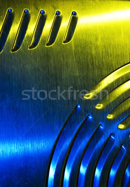 Fém textúra fal absztrakt felirat kék tányér Stock fotó © Nejron