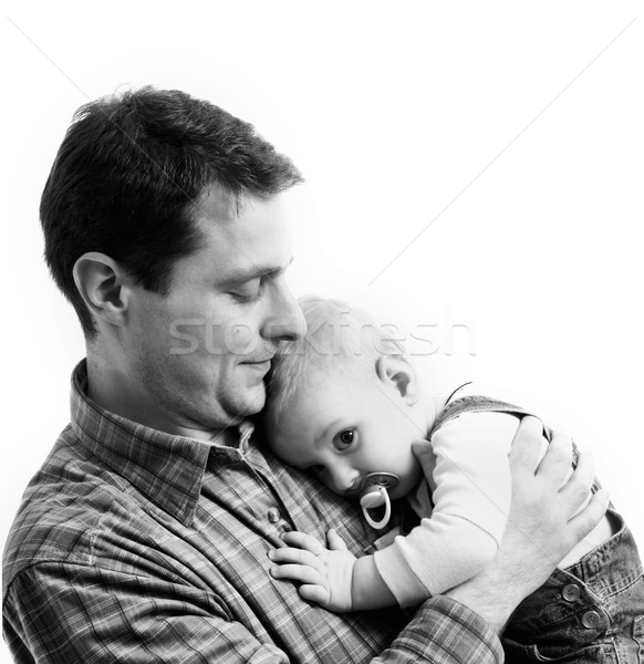 Father with his child isolated on white background Stock photo © Nejron