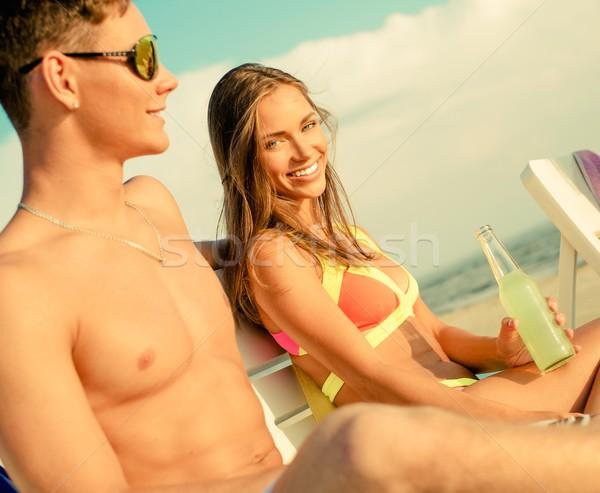 Relaxante convés cadeiras praia céu Foto stock © Nejron