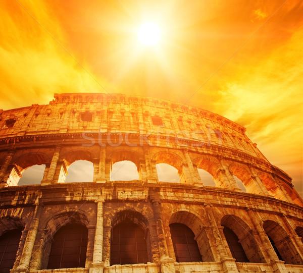 Колизей Рим Италия облака Восход каменные Сток-фото © Nejron
