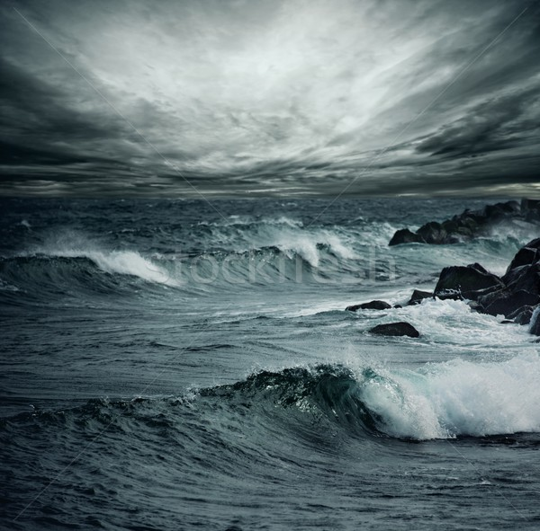 Oceaan storm strand water wolken natuur Stockfoto © Nejron