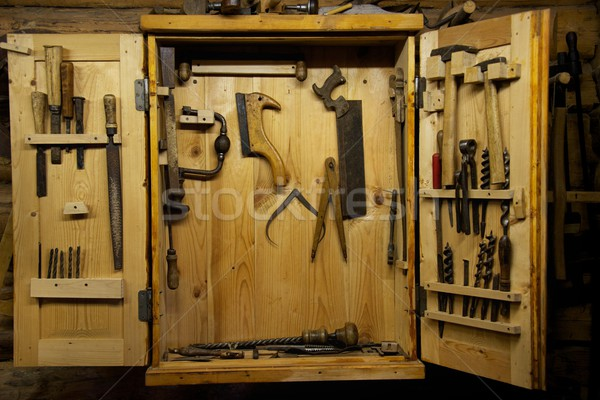 Wooden toolbox on a wall Stock photo © Nejron