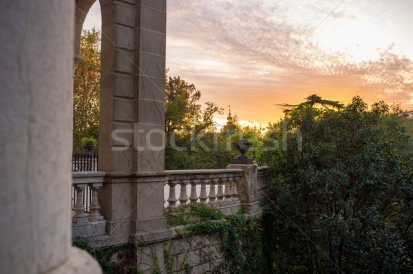 View at beautiful sunset from Fountain in  Parc de la Ciutadella, Barcelona Stock photo © Nejron