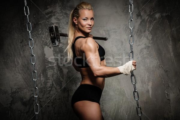 Belo muscular musculação mulher martelo Foto stock © Nejron