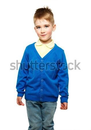 Vrolijk weinig jongen Blauw cardigan Geel Stockfoto © Nejron