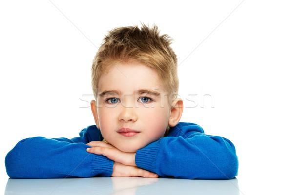 Stockfoto: Weinig · jongen · Blauw · cardigan · Geel · shirt