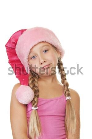 Beautiful mrs. Santa with a gift box Stock photo © Nejron