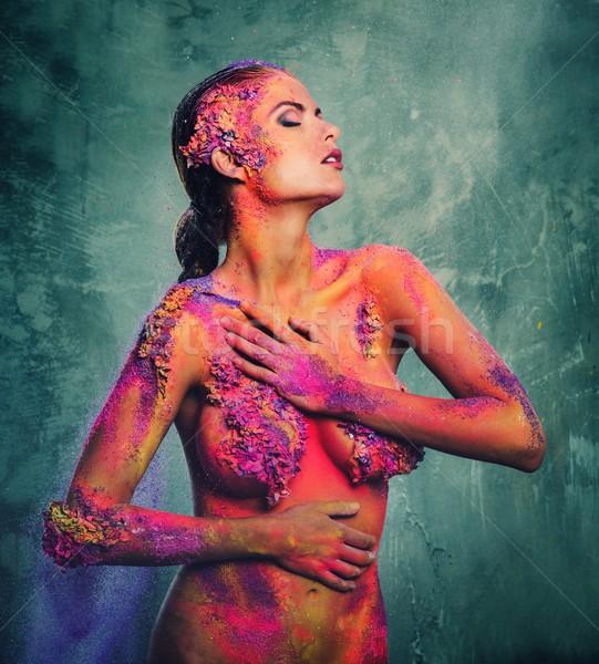 Güzel genç kadın renkli kız moda Stok fotoğraf © Nejron