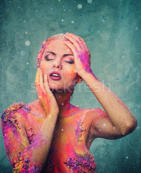 Bella colorato body art ragazza moda Foto d'archivio © Nejron