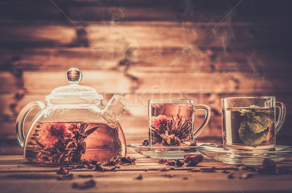 ティーポット ガラス カップ 茶 木製 花 ストックフォト © Nejron