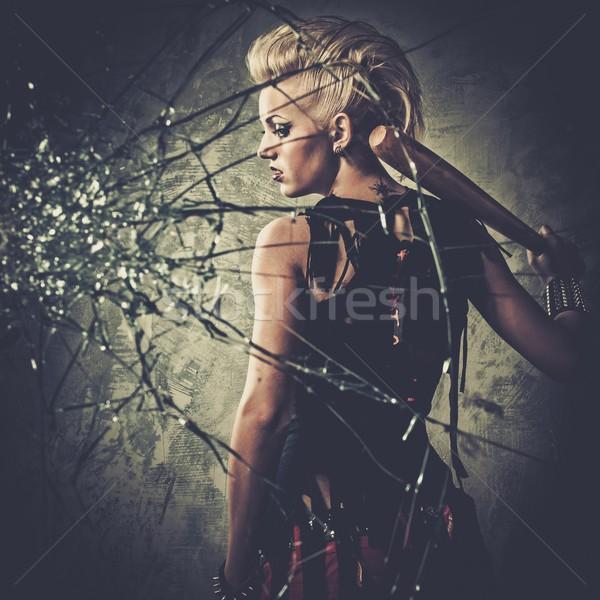 パンク 少女 後ろ 割れたガラス 野球用バット 顔 ストックフォト © Nejron