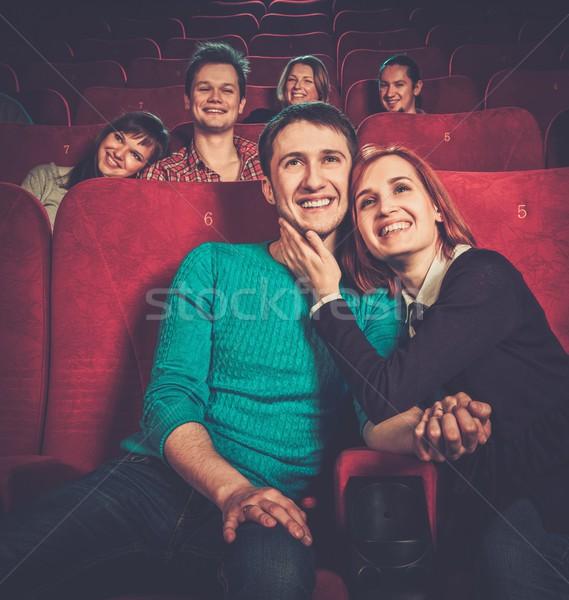 Stock fotó: Csoport · mosolyog · emberek · néz · film · mozi