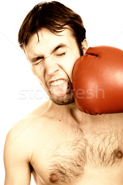 Funny jóvenes boxeador sepia mano cara Foto stock © Nejron