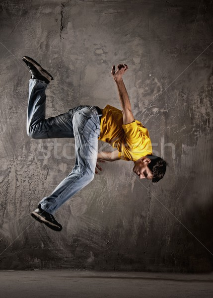 Stok fotoğraf: Genç · atlama · grunge · duvar · dans · model