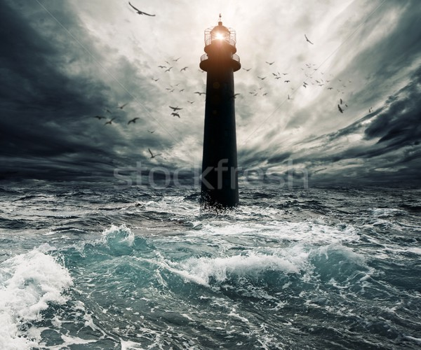 Stormy sky over flooded lighthouse Stock photo © Nejron