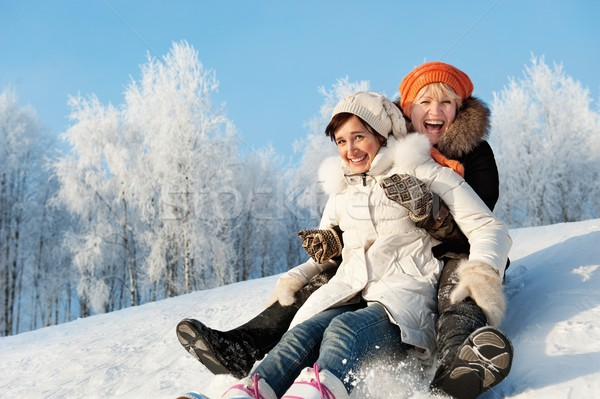 Mother and daughter sliding in the snow   Stock photo © Nejron