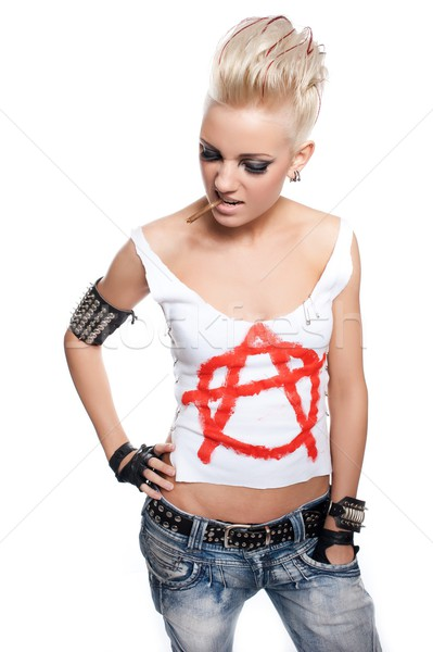 Punk girl with a cigarrete Stock photo © Nejron