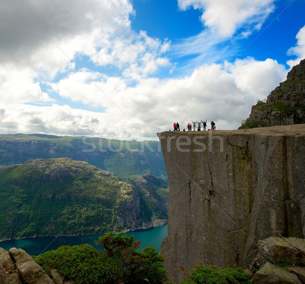 People at Preikestolen, Norway Stock photo © Nejron
