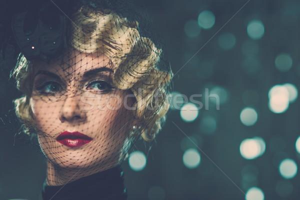 Elegante retro donna indossare piccolo Foto d'archivio © Nejron