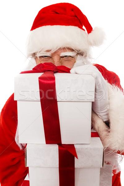 Santa Claus with gift boxes isolated on white background  Stock photo © Nejron
