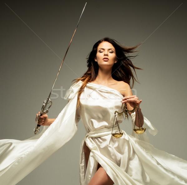 богиня правосудия Весы меч статуя масштаба Сток-фото © Nejron