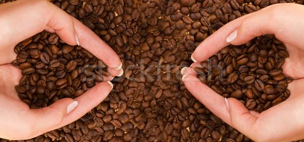 два кофе рук текстуры сердце здоровья Сток-фото © Nejron
