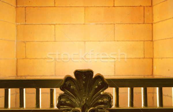 Kandalló ház tűz terv fém belső Stock fotó © Nejron