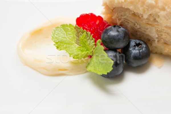 Stockfoto: Stuk · cake · vla · vruchten · voedsel · vruchten