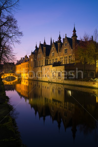 Houses along  canal at night in Bruges, Belgium Stock photo © Nejron