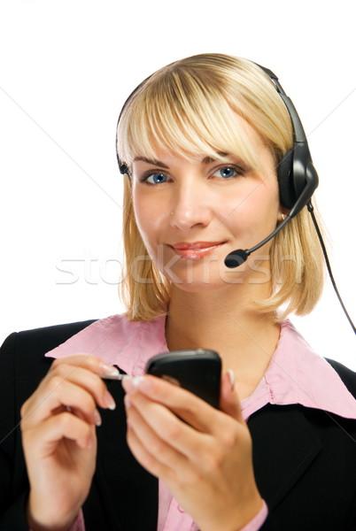 Hermosa línea directa operador teléfono celular manos aislado Foto stock © Nejron