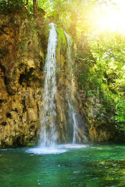 Sunrise over waterfall in wild forest Stock photo © Nejron