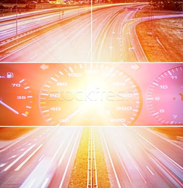 Prędkości autostrady kolaż streszczenie noc szybko Zdjęcia stock © Nejron