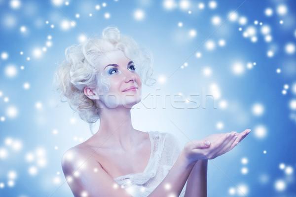 Foto stock: Belo · neve · rainha · espuma · bubbles · mulher