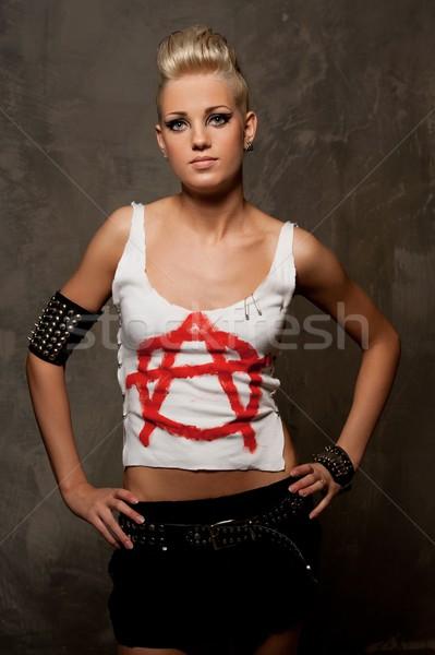 панк девушки Постоянный женщину лице краской Сток-фото © Nejron