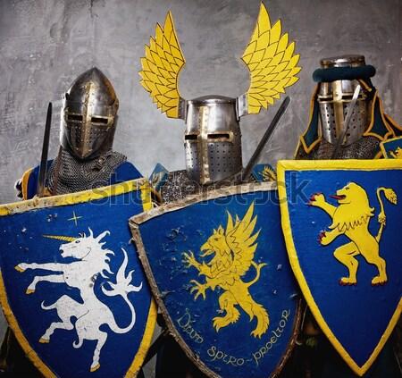 Medieval caballero gris hombre guerra azul Foto stock © Nejron